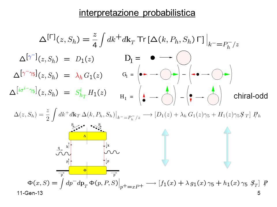 11-Gen-1326 effetto Sivers in SIDIS chiralevenchiral-odd qq q pf1f1 h 1 p = Tf 1T g 1T h 1, h 1T chiralevenchiral-odd qq q D1D1 H 1