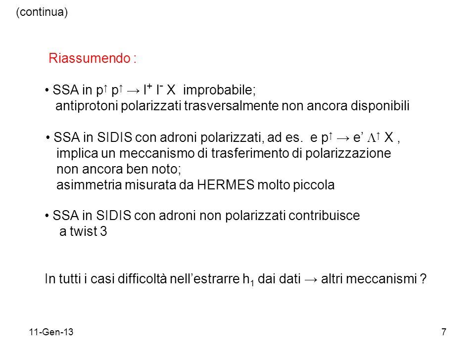 11-Gen-137 Riassumendo : SSA in p p l + l - X improbabile; antiprotoni polarizzati trasversalmente non ancora disponibili SSA in SIDIS con adroni polarizzati, ad es.