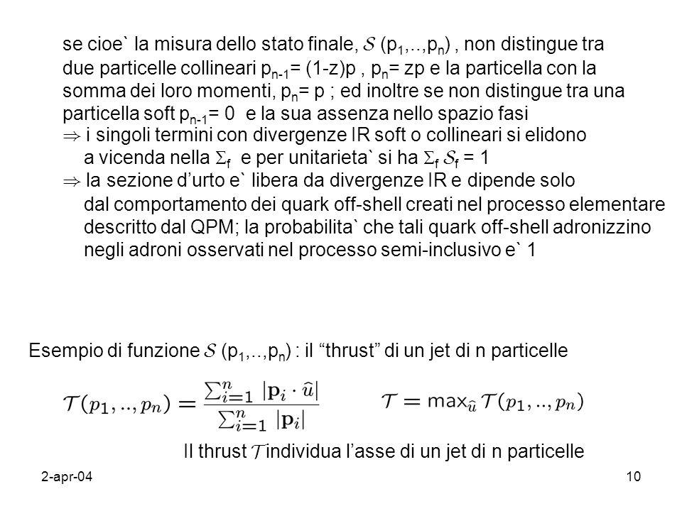2-apr-0410 se cioe` la misura dello stato finale, S (p 1,..,p n ), non distingue tra due particelle collineari p n-1 = (1-z)p, p n = zp e la particell