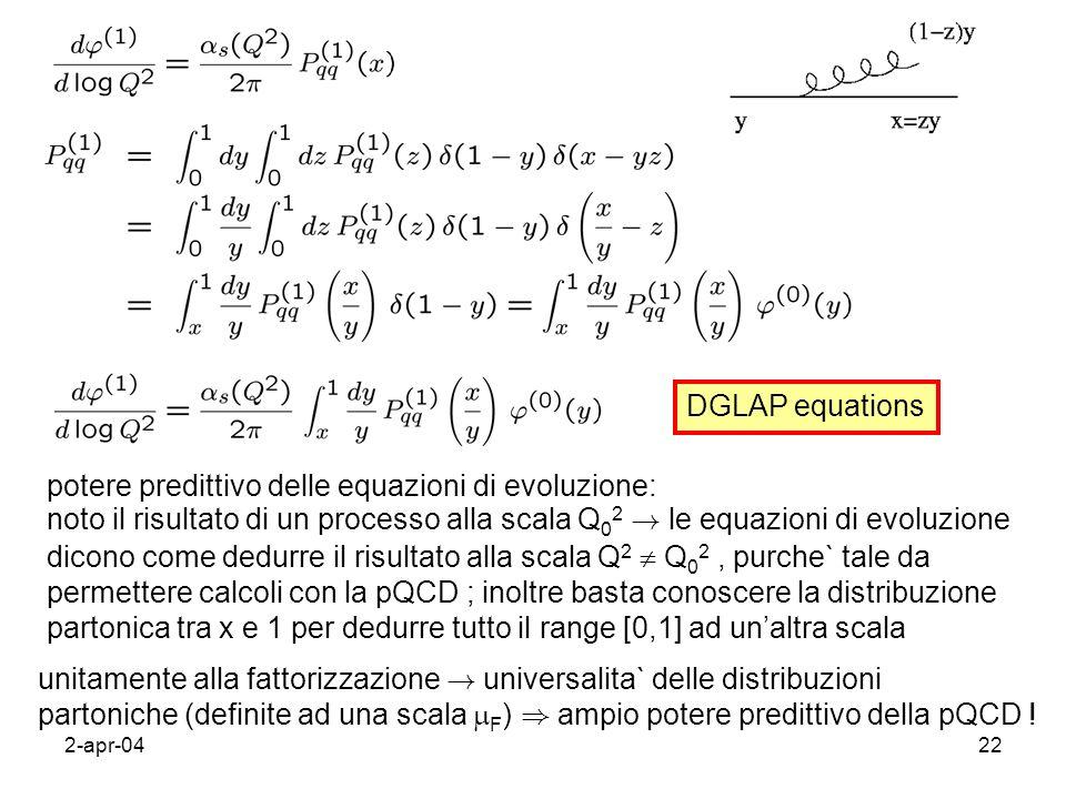 2-apr-0422 potere predittivo delle equazioni di evoluzione: noto il risultato di un processo alla scala Q 0 2 ! le equazioni di evoluzione dicono come