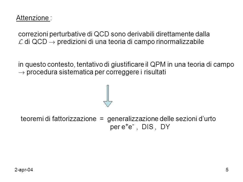 2-apr-045 Attenzione : correzioni perturbative di QCD sono derivabili direttamente dalla L di QCD ! predizioni di una teoria di campo rinormalizzabile