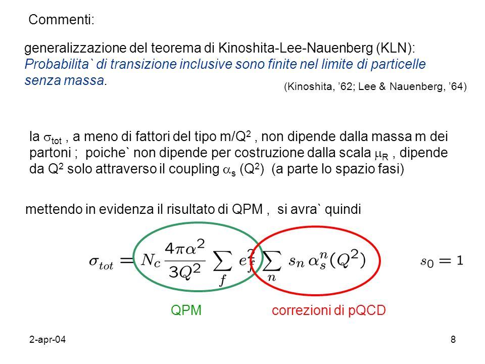 2-apr-049 e + e - semi-inclusivo (inclusi i jet) Premessa : per identificare le divergenze IR, calcolare le correzioni pQCD nel limite di partoni senza massa .