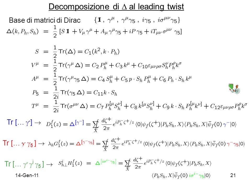 14-Gen-1121 Decomposizione di al leading twist Tr [… - ] ! Tr [… - 5 ] ! Tr [… - i 5 ] ! Base di matrici di Dirac