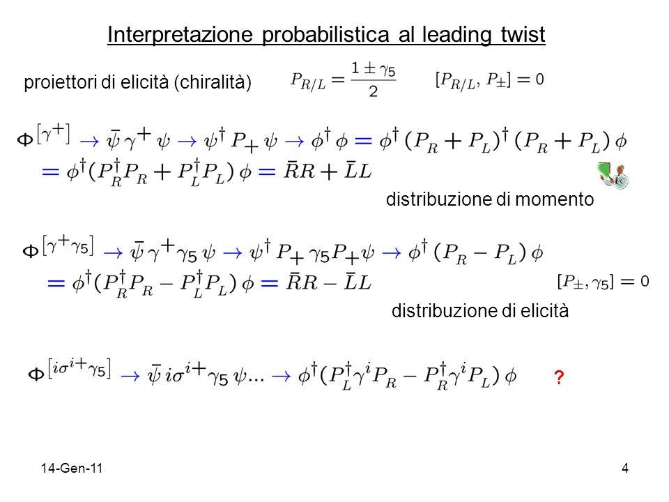 14-Gen-1115 h 1 non conserva chiralità (chiral odd) h 1 può quindi essere determinata da processi soft legati alla rottura della simmetria chirale della QCD (ruolo del vuoto nonperturbativo di QCD?) in base di elicità la sezione durto deve essere chiral-even quindi per estrarre h 1 bisogna trovare un processo elementare in cui appaia insieme ad un partner chiral-odd, in modo da annullare leffetto; il vincolo ulteriore è che tale contributo appaia al leading twist.