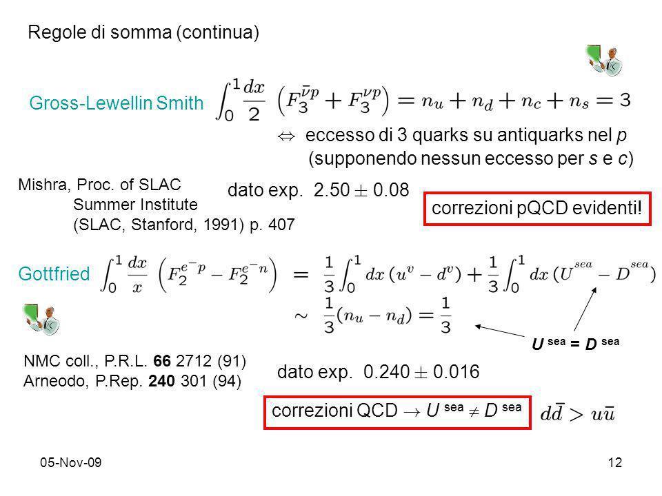 05-Nov-0912 Gross-Lewellin Smith dato exp. 2.50 § 0.08 correzioni pQCD evidenti! Regole di somma (continua), eccesso di 3 quarks su antiquarks nel p (