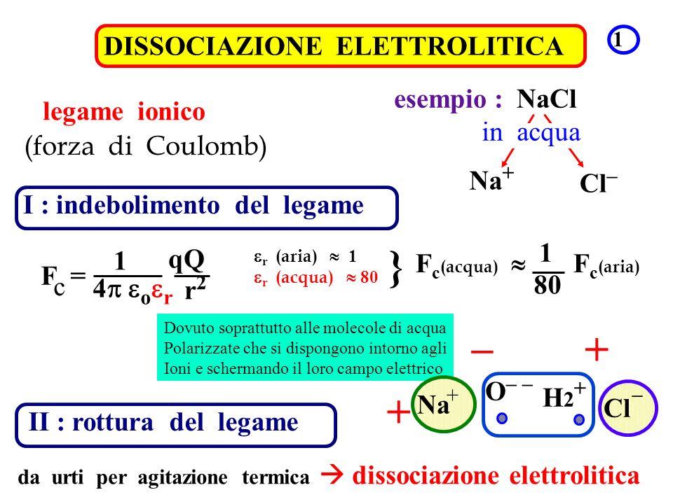 DISSOCIAZIONE ELETTROLITICA 1 legame ionico (forza di Coulomb) esempio : NaCl Na + Cl – in acqua I : indebolimento del legame 1 4 o r F = qQ r2r2 r (a