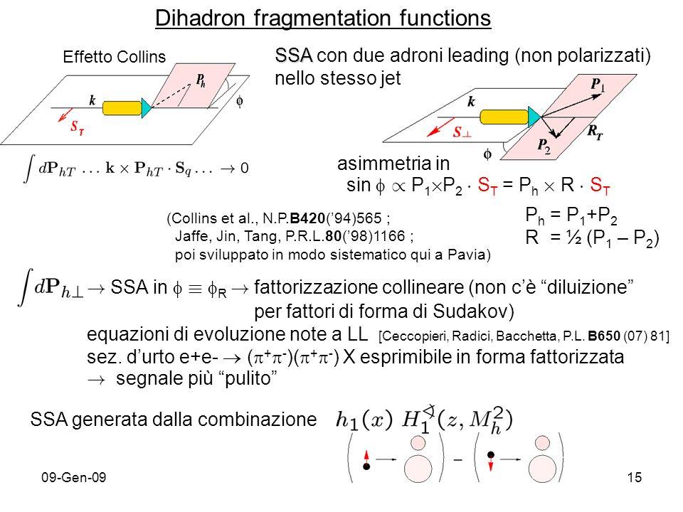 09-Gen-0915 SSA SSA con due adroni leading (non polarizzati) nello stesso jet asimmetria in sin / P 1 £ P 2 ¢ S T = P h £ R ¢ S T P h = P 1 +P 2 R = ½ (P 1 – P 2 ) (Collins et al., N.P.B420(94)565 ; Jaffe, Jin, Tang, P.R.L.80(98)1166 ; poi sviluppato in modo sistematico qui a Pavia) .