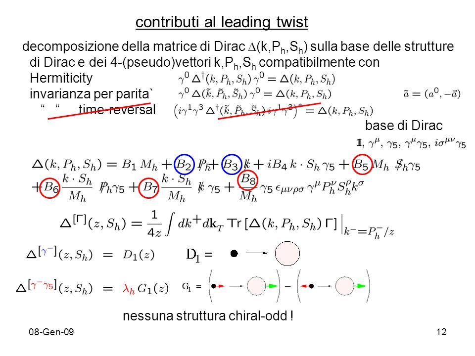 08-Gen-0912 contributi al leading twist decomposizione della matrice di Dirac (k,P h,S h ) sulla base delle strutture di Dirac e dei 4-(pseudo)vettori k,P h,S h compatibilmente con Hermiticity invarianza per parita` time-reversal base di Dirac nessuna struttura chiral-odd !