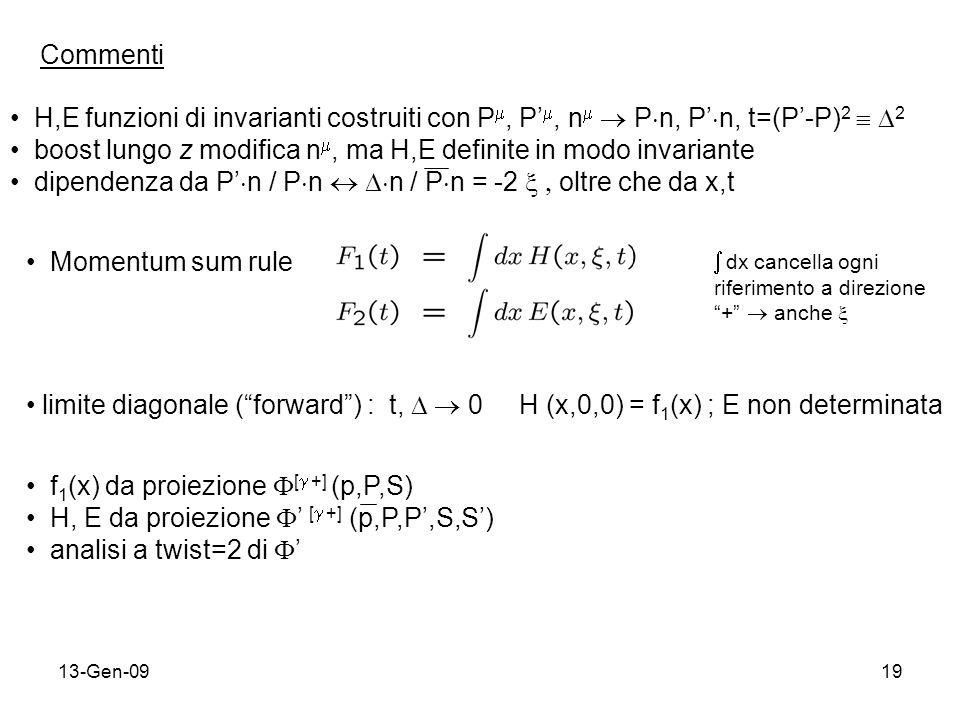 13-Gen-0919 Commenti H,E funzioni di invarianti costruiti con P, P, n P n, P n, t=(P-P) 2 2 boost lungo z modifica n, ma H,E definite in modo invariante dipendenza da P n / P n n / P n = -2 oltre che da x,t Momentum sum rule dx cancella ogni riferimento a direzione + anche limite diagonale (forward) : t, 0 H (x,0,0) = f 1 (x) ; E non determinata f 1 (x) da proiezione [ +] (p,P,S) H, E da proiezione [ +] (p,P,P,S,S) analisi a twist=2 di