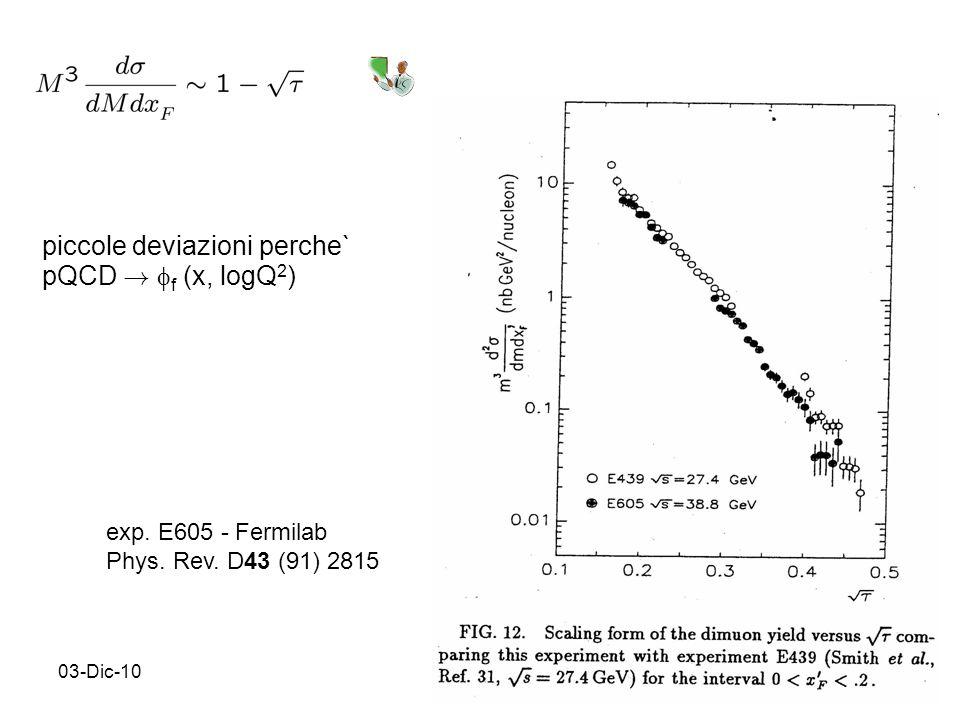 03-Dic-1015 exp. E605 - Fermilab Phys. Rev. D43 (91) 2815 piccole deviazioni perche` pQCD .