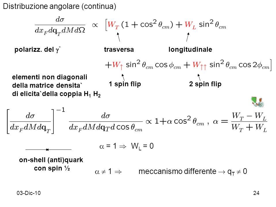 03-Dic-1024 Distribuzione angolare (continua) polarizz.