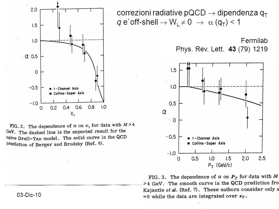 03-Dic-1026 Fermilab Phys. Rev. Lett. 43 (79) 1219 correzioni radiative pQCD .