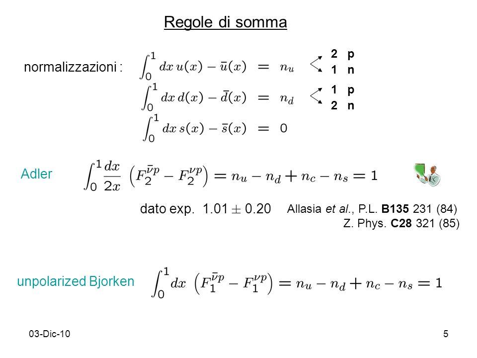 03-Dic-105 Regole di somma 2 p 1 n 1 p 2 n Adler dato exp.
