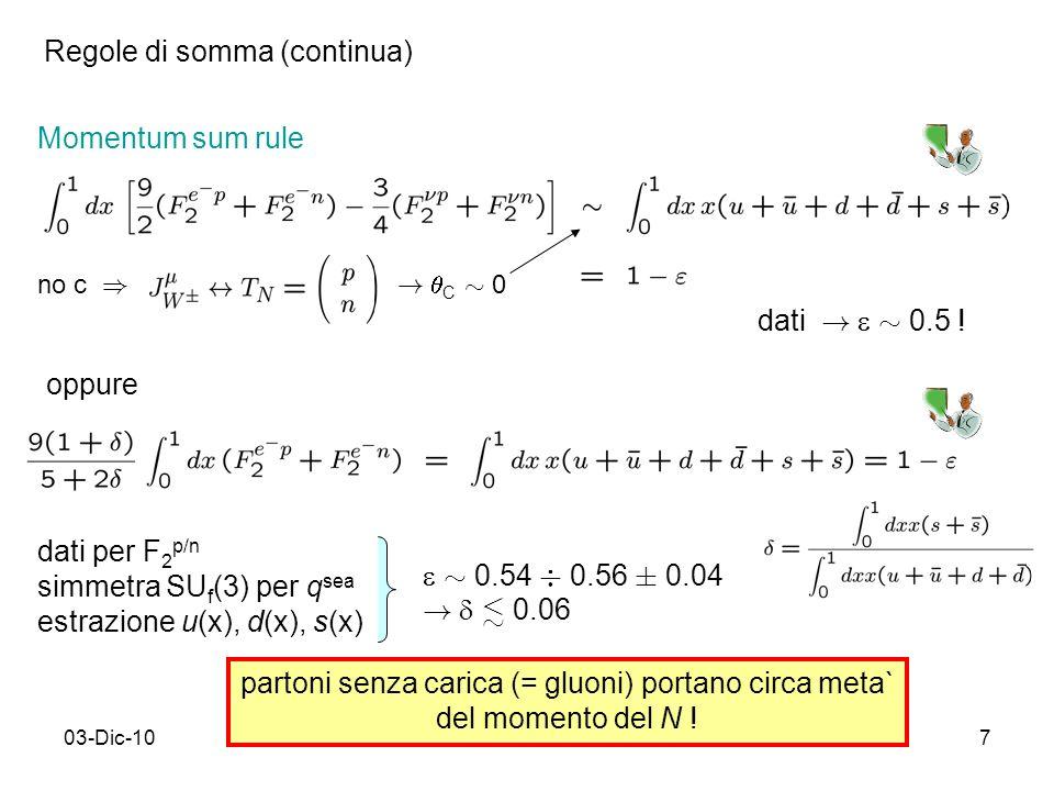 03-Dic-107 Momentum sum rule dati per F 2 p/n simmetra SU f (3) per q sea estrazione u(x), d(x), s(x) partoni senza carica (= gluoni) portano circa meta` del momento del N .