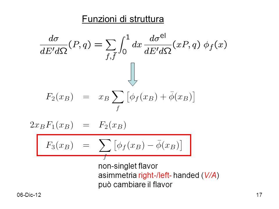 06-Dic-1217 Funzioni di struttura non-singlet flavor asimmetria right-/left- handed (V/A) può cambiare il flavor