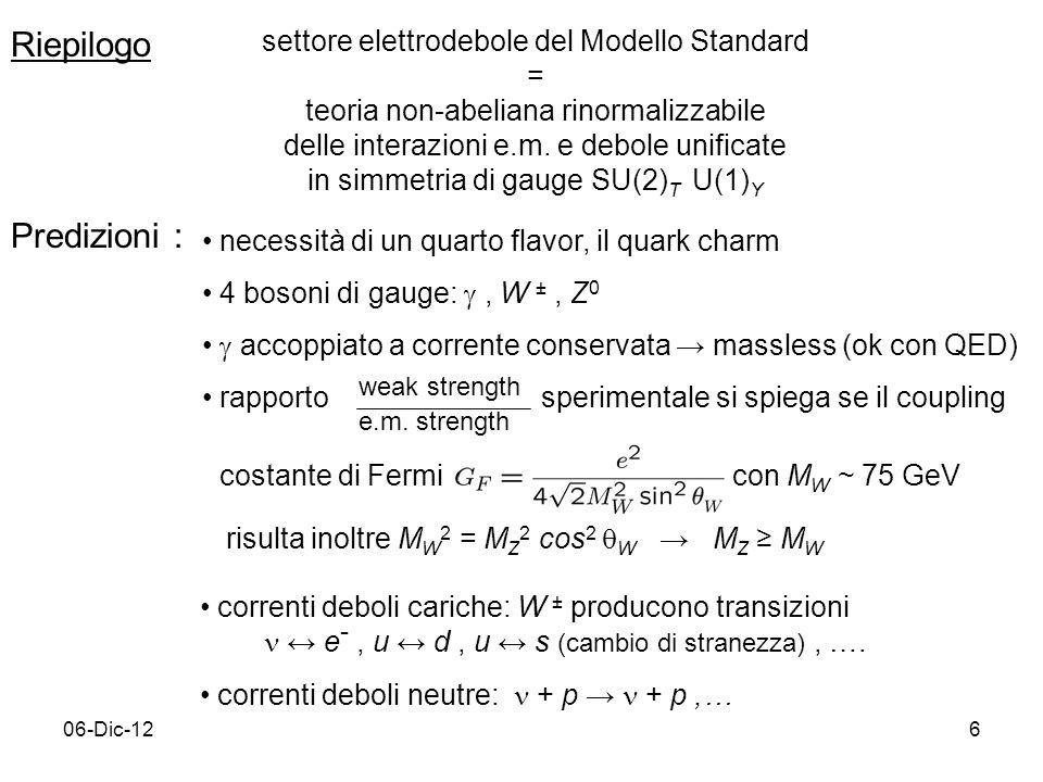06-Dic-126 Riepilogo settore elettrodebole del Modello Standard = teoria non-abeliana rinormalizzabile delle interazioni e.m. e debole unificate in si