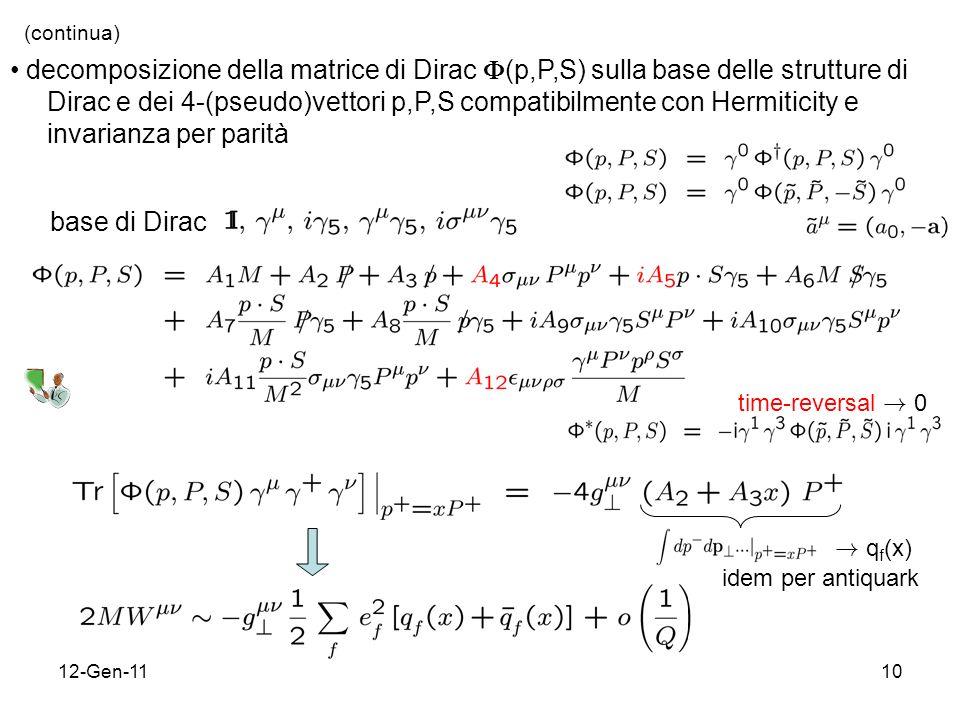 12-Gen-1110 (continua) decomposizione della matrice di Dirac (p,P,S) sulla base delle strutture di Dirac e dei 4-(pseudo)vettori p,P,S compatibilmente con Hermiticity e invarianza per parità base di Dirac time-reversal .