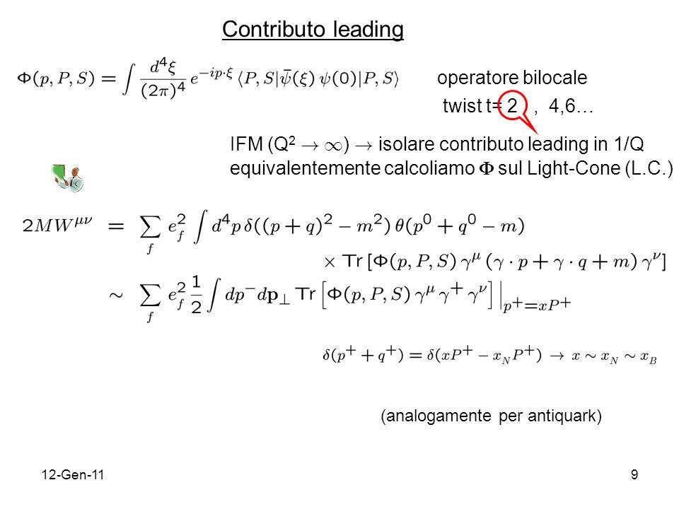 12-Gen-119 operatore bilocale twist t= 2, 4,6… IFM (Q 2 ! 1 ) ! isolare contributo leading in 1/Q equivalentemente calcoliamo sul Light-Cone (L.C.) (a