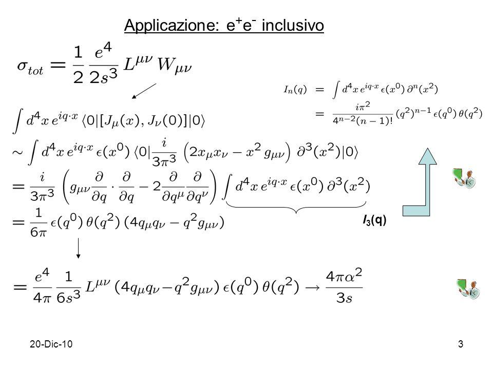20-Dic-103 Applicazione: e + e - inclusivo I 3 (q)