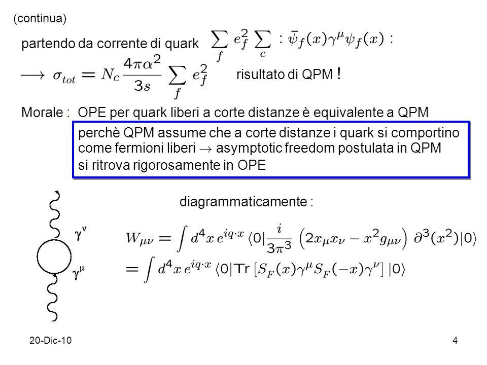 20-Dic-104 partendo da corrente di quark Morale : OPE per quark liberi a corte distanze è equivalente a QPM perchè QPM assume che a corte distanze i quark si comportino come fermioni liberi .