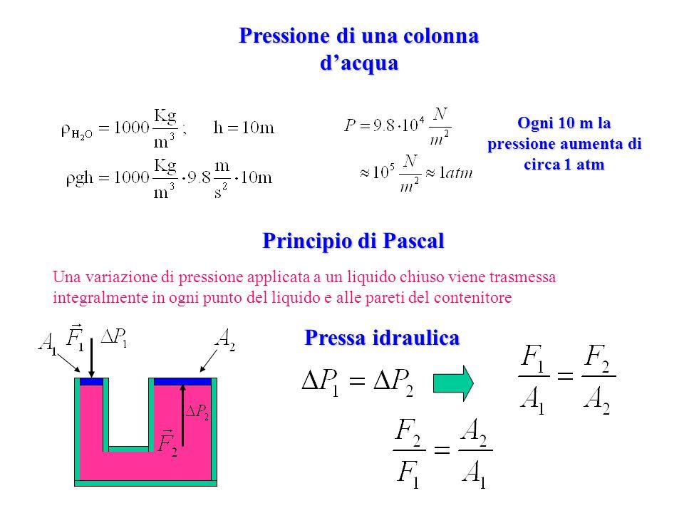 Pressione di una colonna dacqua Ogni 10 m la pressione aumenta di circa 1 atm Principio di Pascal Una variazione di pressione applicata a un liquido c