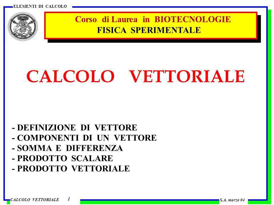 CALCOLO VETTORIALE ELEMENTI DI CALCOLO VETTORE 2 caratterizzato da 3 dati direzione modulo verso punto di applicazione v (lettera v in grassetto ) v modulo v, v direzione verso esempi spostamento s velocità v accelerazione a s = 16.4 m v = 32.7 m s –1 a = 9.8 m s –2