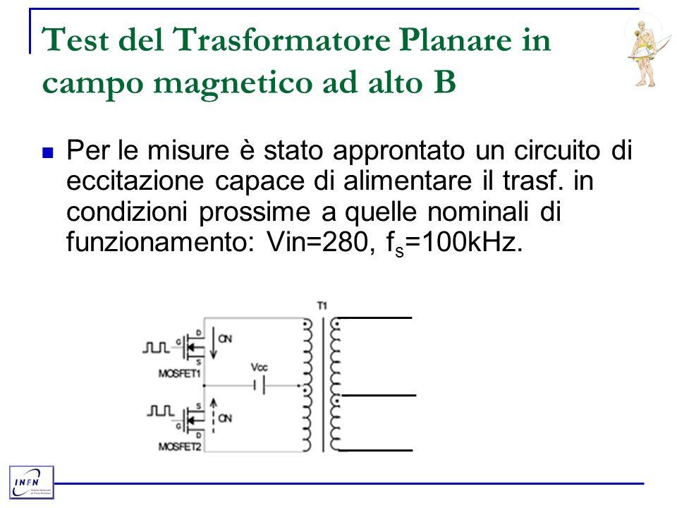 Test del Trasformatore Planare in campo magnetico ad alto B Per le misure è stato approntato un circuito di eccitazione capace di alimentare il trasf.