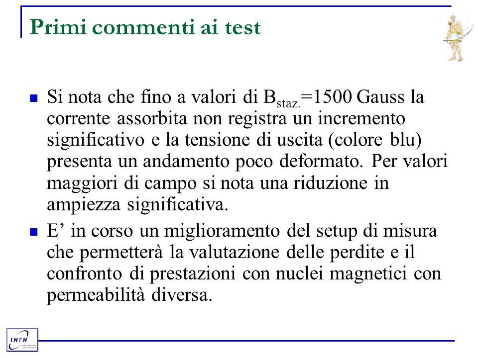 Primi commenti ai test Si nota che fino a valori di B staz.