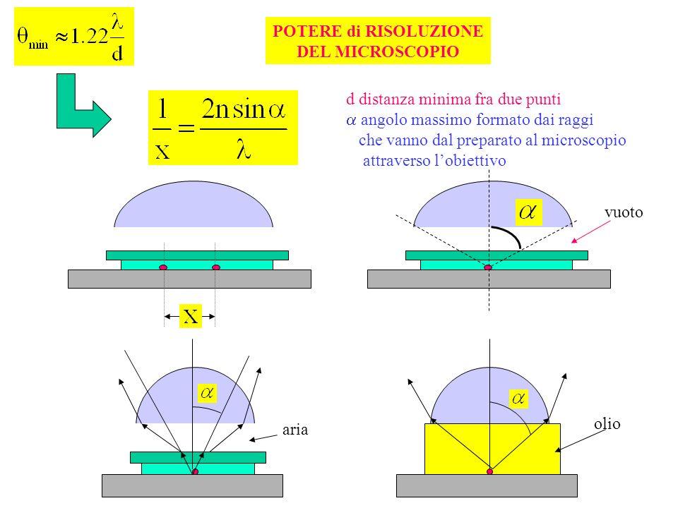POTERE di RISOLUZIONE DEL MICROSCOPIO d distanza minima fra due punti angolo massimo formato dai raggi che vanno dal preparato al microscopio attraver