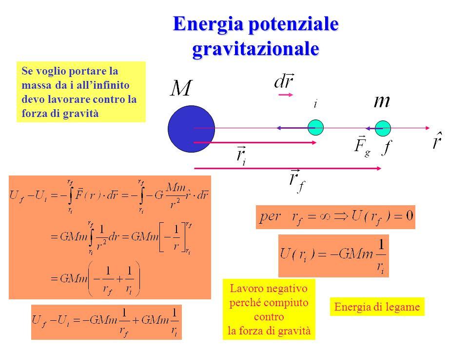 Energia potenziale gravitazionale Se voglio portare la massa da i allinfinito devo lavorare contro la forza di gravità Lavoro negativo perché compiuto
