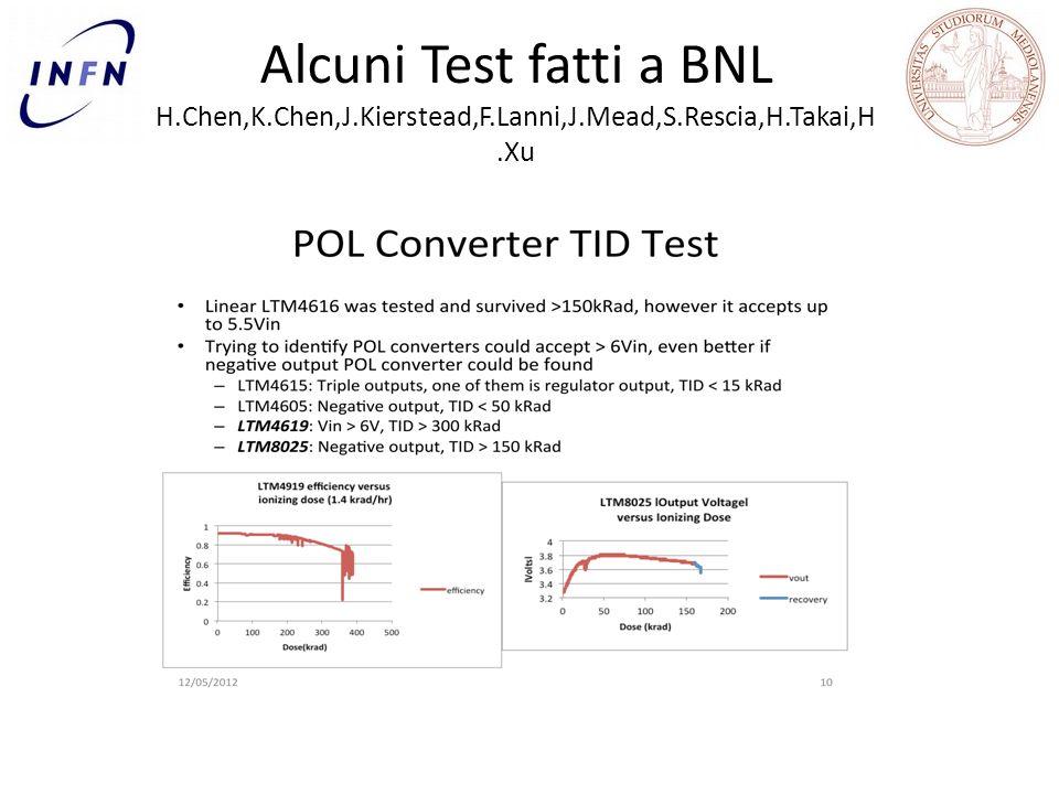 Alcuni Test fatti a BNL H.Chen,K.Chen,J.Kierstead,F.Lanni,J.Mead,S.Rescia,H.Takai,H.Xu