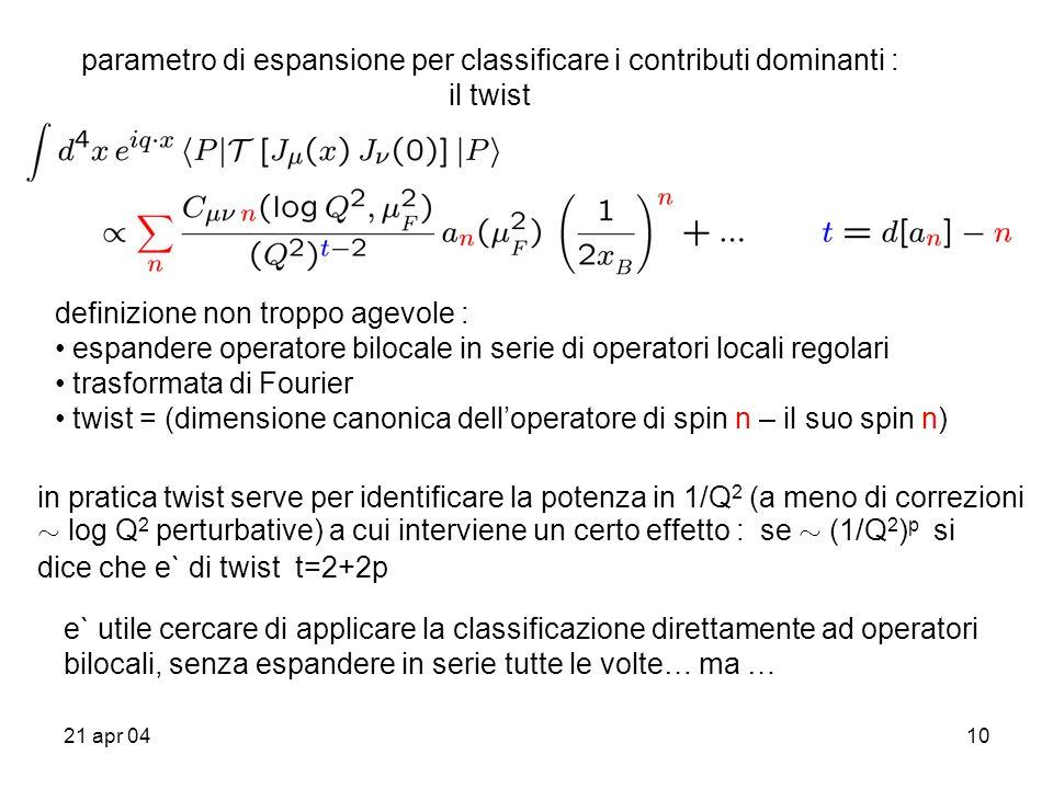 21 apr 0410 parametro di espansione per classificare i contributi dominanti : il twist definizione non troppo agevole : espandere operatore bilocale in serie di operatori locali regolari trasformata di Fourier twist = (dimensione canonica delloperatore di spin n – il suo spin n) in pratica twist serve per identificare la potenza in 1/Q 2 (a meno di correzioni » log Q 2 perturbative) a cui interviene un certo effetto : se » (1/Q 2 ) p si dice che e` di twist t=2+2p e` utile cercare di applicare la classificazione direttamente ad operatori bilocali, senza espandere in serie tutte le volte… ma …