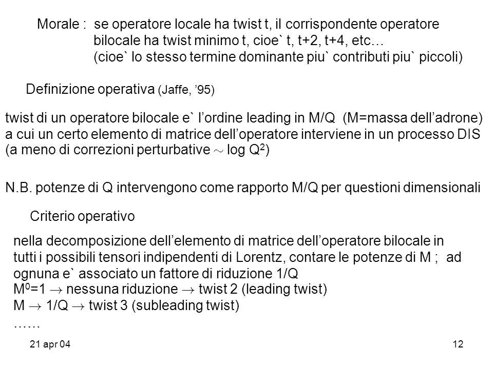 21 apr 0412 Morale : se operatore locale ha twist t, il corrispondente operatore bilocale ha twist minimo t, cioe` t, t+2, t+4, etc… (cioe` lo stesso termine dominante piu` contributi piu` piccoli) Definizione operativa (Jaffe, 95) twist di un operatore bilocale e` lordine leading in M/Q (M=massa delladrone) a cui un certo elemento di matrice delloperatore interviene in un processo DIS (a meno di correzioni perturbative » log Q 2 ) N.B.