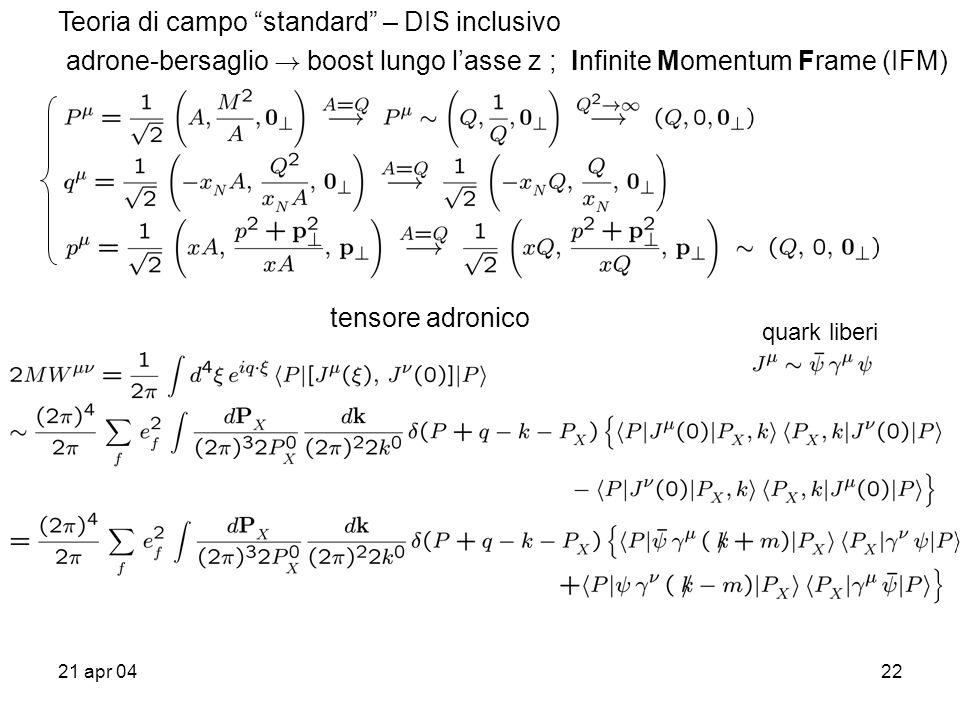 21 apr 0422 Teoria di campo standard – DIS inclusivo adrone-bersaglio .