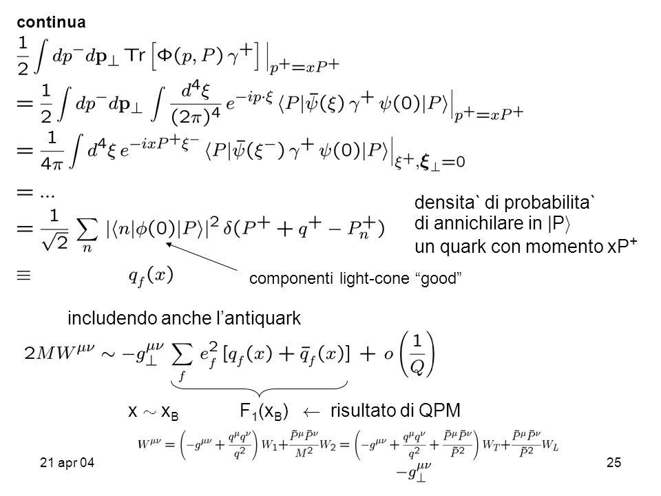 21 apr 0425 continua densita` di probabilita` di annichilare in |P i un quark con momento xP + includendo anche lantiquark x » x B F 1 (x B ) Ã risultato di QPM componenti light-cone good