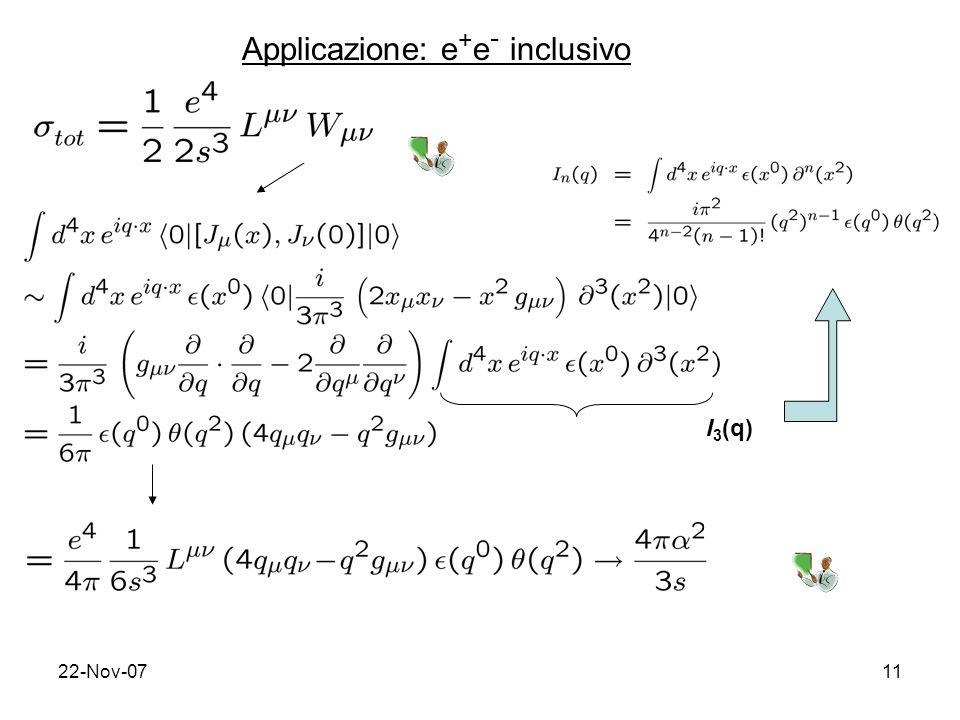 22-Nov-0711 Applicazione: e + e - inclusivo I 3 (q)