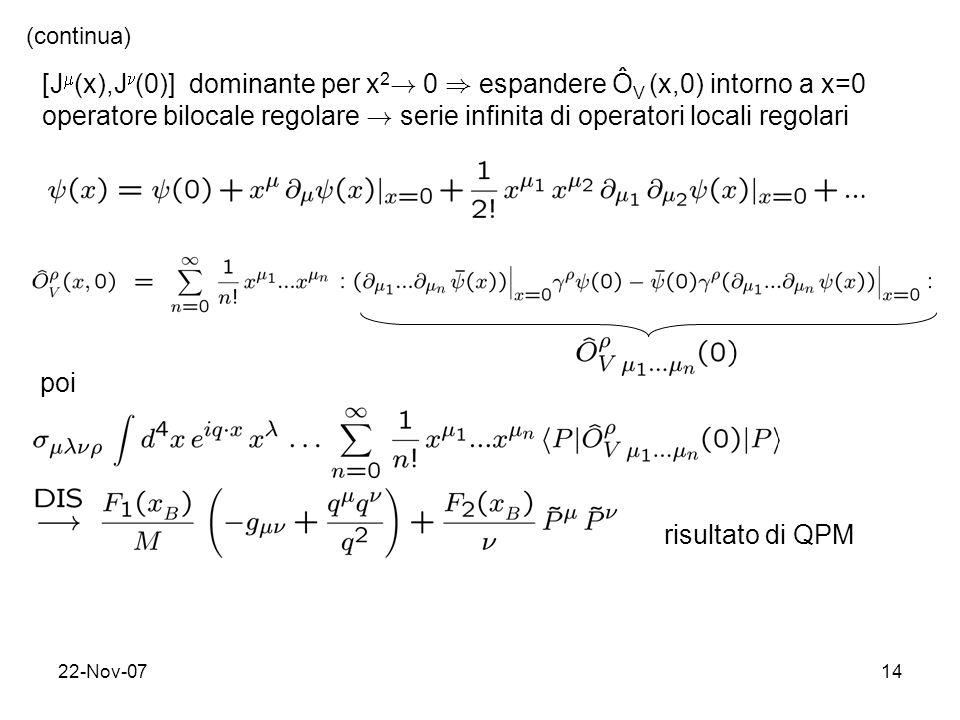 22-Nov-0714 [J (x),J (0)] dominante per x 2 ! 0 ) espandere Ô V (x,0) intorno a x=0 operatore bilocale regolare ! serie infinita di operatori locali r