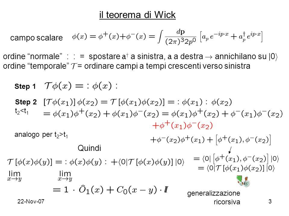 22-Nov-074 analogamente per campi fermionici non interagenti formula generale del teorema di Wick: P ij = (-1) m m= n 0 di permutazioni per riportare gli indici nellordine naturale 1, …,i-1,i, …,j-1,j,...,n