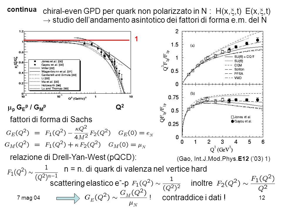 7 mag 0412 continua chiral-even GPD per quark non polarizzato in N : H(x,,t) E(x,,t) ! studio dellandamento asintotico dei fattori di forma e.m. del N