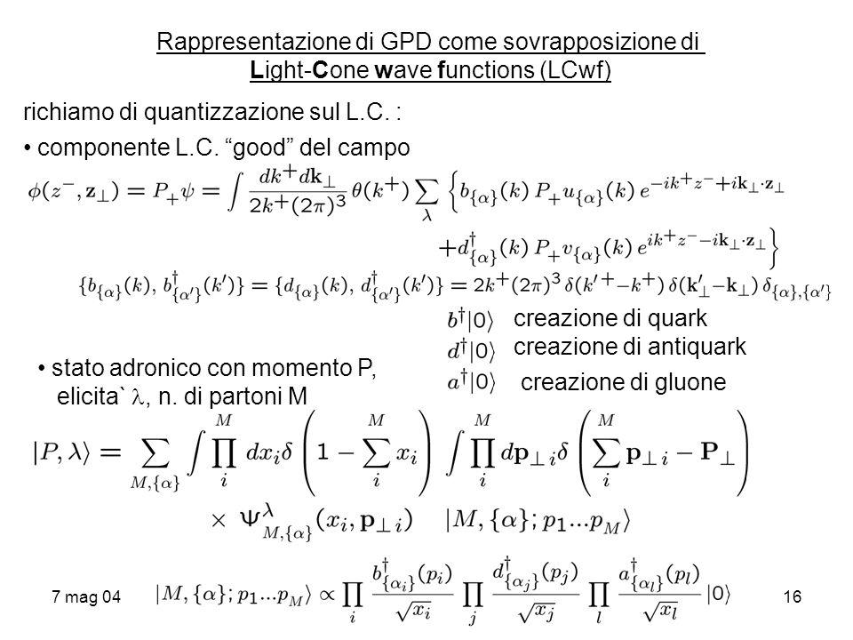 7 mag 0416 Rappresentazione di GPD come sovrapposizione di Light-Cone wave functions (LCwf) richiamo di quantizzazione sul L.C. : componente L.C. good