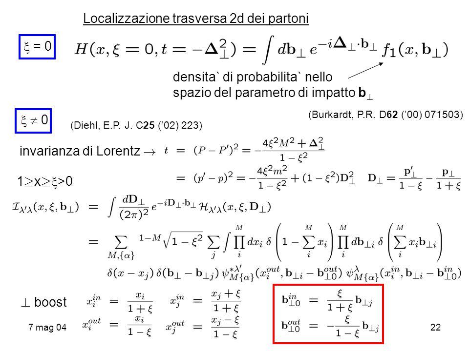 7 mag 0422 Localizzazione trasversa 2d dei partoni = 0 densita` di probabilita` nello spazio del parametro di impatto b ? (Burkardt, P.R. D62 (00) 071