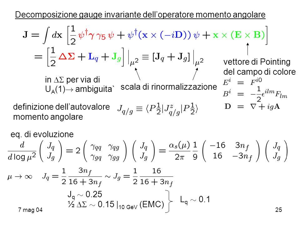7 mag 0425 Decomposizione gauge invariante delloperatore momento angolare vettore di Pointing del campo di colore scala di rinormalizzazione definizio