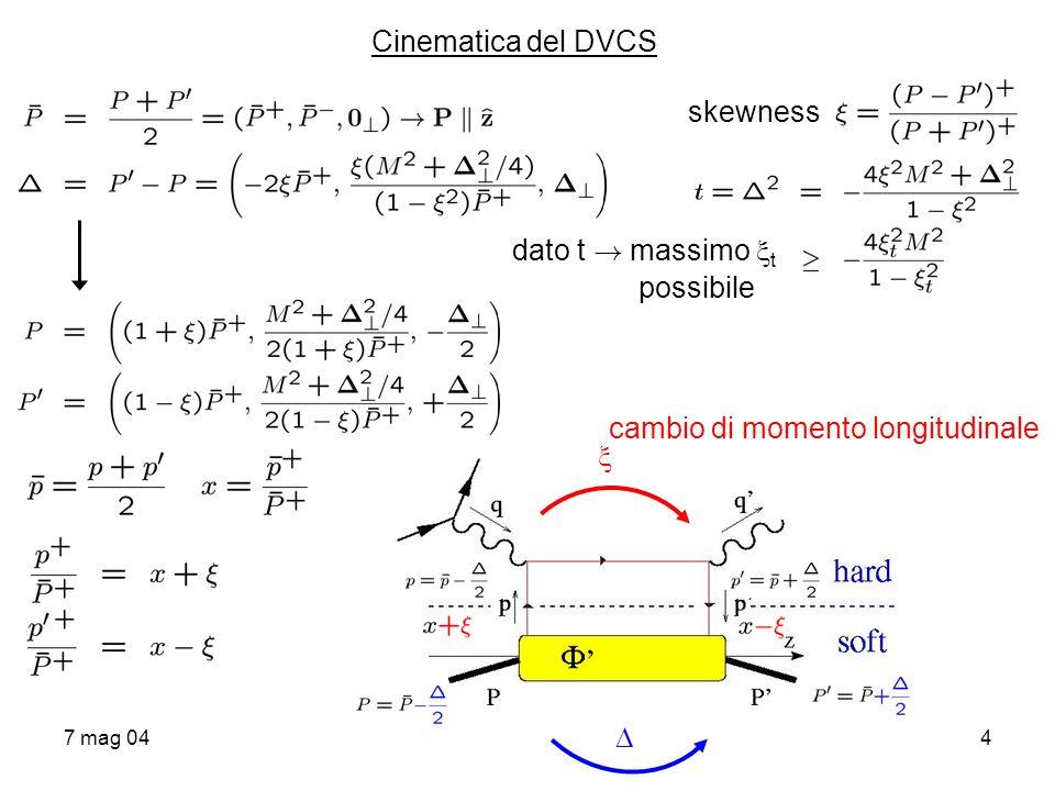 7 mag 045 Analisi in twist del correlatore non diagonale estrazione del contributo al leading twist procede come per PDF: decomposizione di in termini di strutture di Dirac e 4-vettori (P,P,S,S..) proiezione delle componenti LC good con operatori +, + 5, i i+ 5 integrando su direzione - soppressa (Diehl, E.P.J.