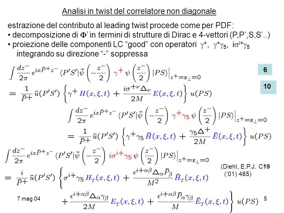 7 mag 045 Analisi in twist del correlatore non diagonale estrazione del contributo al leading twist procede come per PDF: decomposizione di in termini