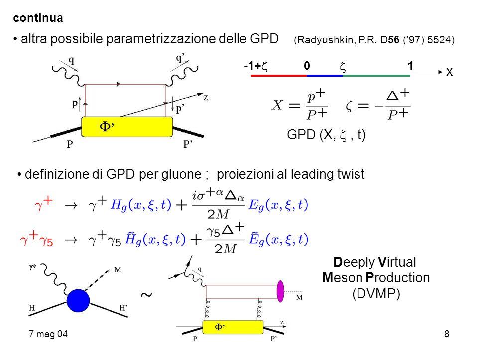 7 mag 048 continua altra possibile parametrizzazione delle GPD (Radyushkin, P.R. D56 (97) 5524) x -1+ 0 1 GPD (X,, t) definizione di GPD per gluone ;