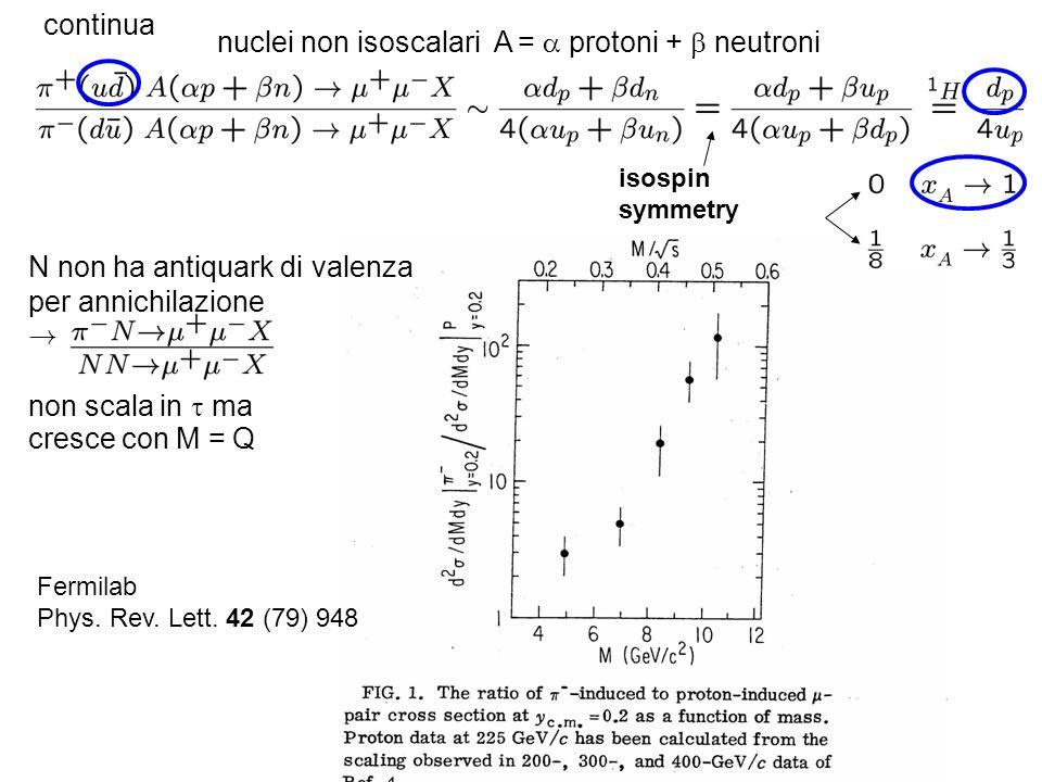 continua nuclei non isoscalari A = protoni + neutroni isospin symmetry N non ha antiquark di valenza per annichilazione ! non scala in ma cresce con M