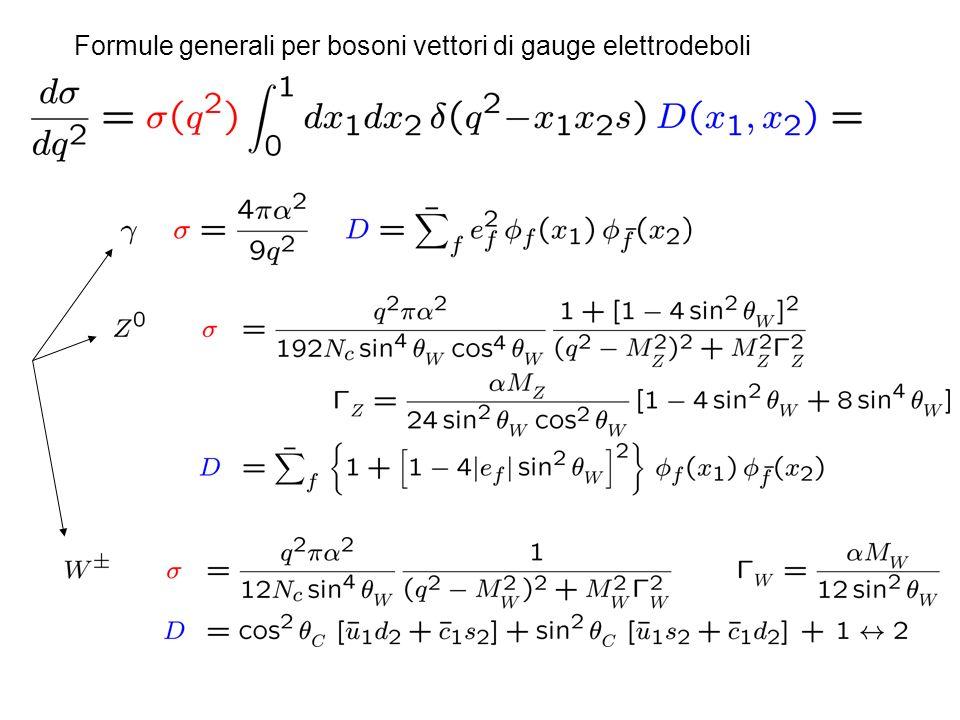 Formule generali per bosoni vettori di gauge elettrodeboli