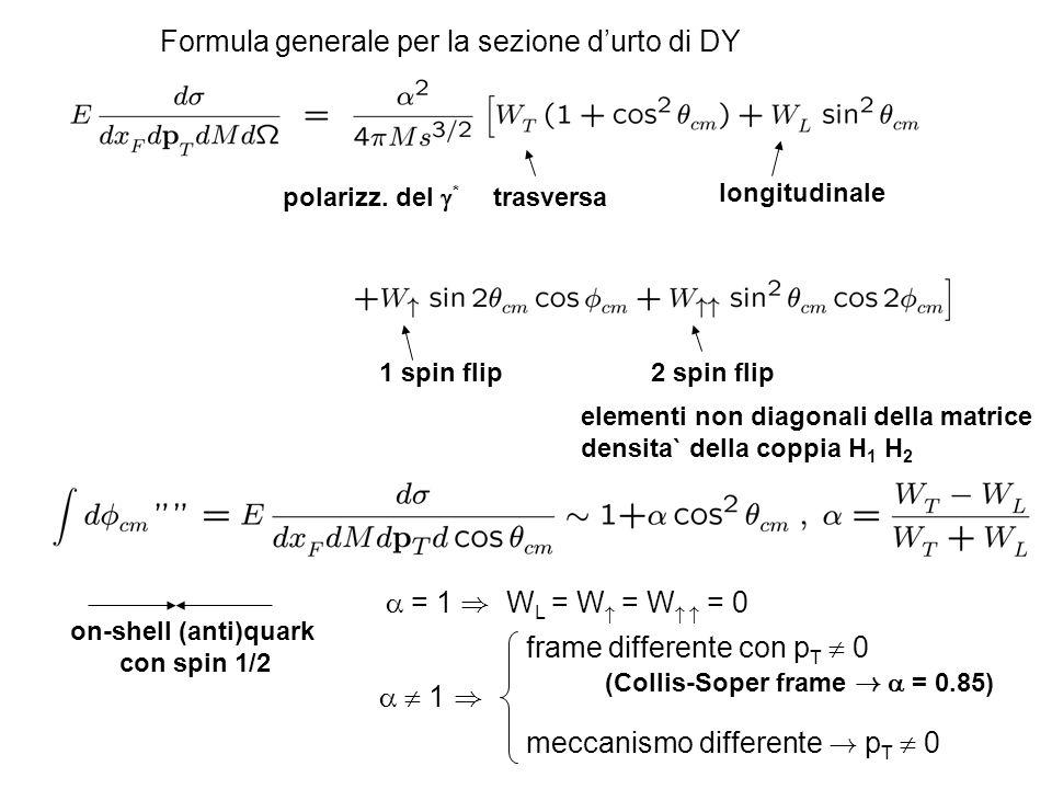 Formula generale per la sezione durto di DY polarizz. del * trasversa longitudinale 1 spin flip2 spin flip elementi non diagonali della matrice densit