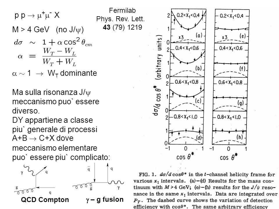 p p ! + - X M > 4 GeV (no J/ ) » 1 ! W T dominante Fermilab Phys. Rev. Lett. 43 (79) 1219 Ma sulla risonanza J/ meccanismo puo` essere diverso. DY app