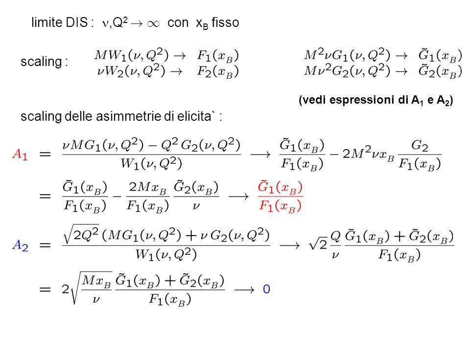 limite DIS :,Q 2 ! 1 con x B fisso scaling : (vedi espressioni di A 1 e A 2 ) scaling delle asimmetrie di elicita` :